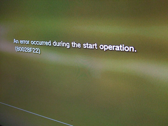 ps3 error repair 80028f22